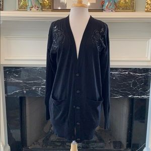 French Connection cardigan w/ sheer sequined trim